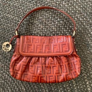 Rare FENDI Baguette Monogram Bag in Cognac Leather
